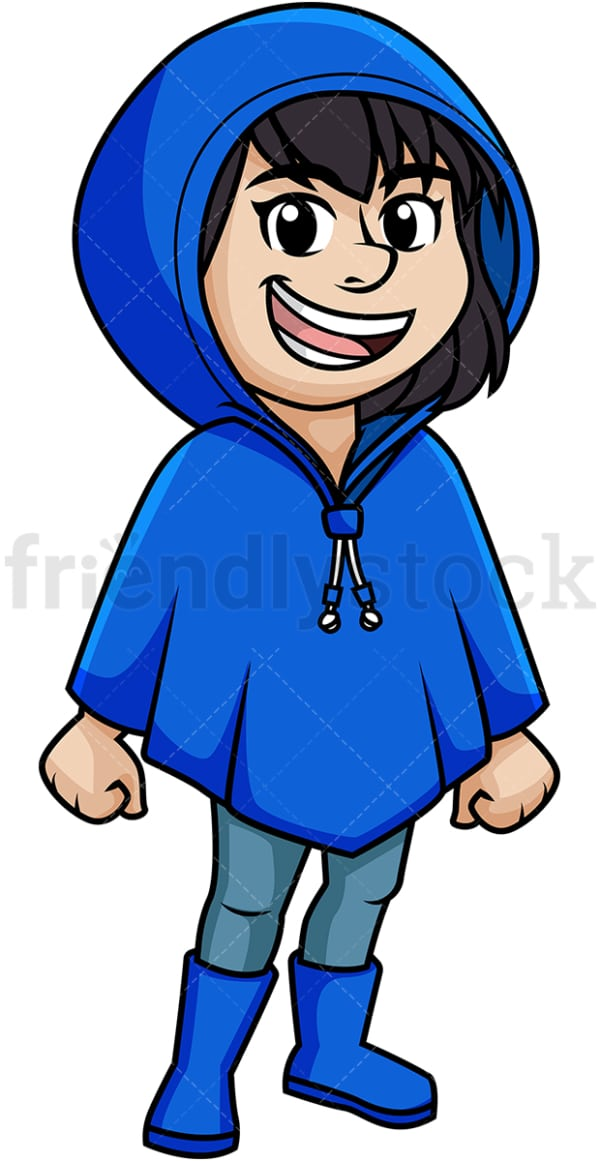 Girl wearing blue raincoat. PNG - JPG and vector EPS (infinitely scalable).
