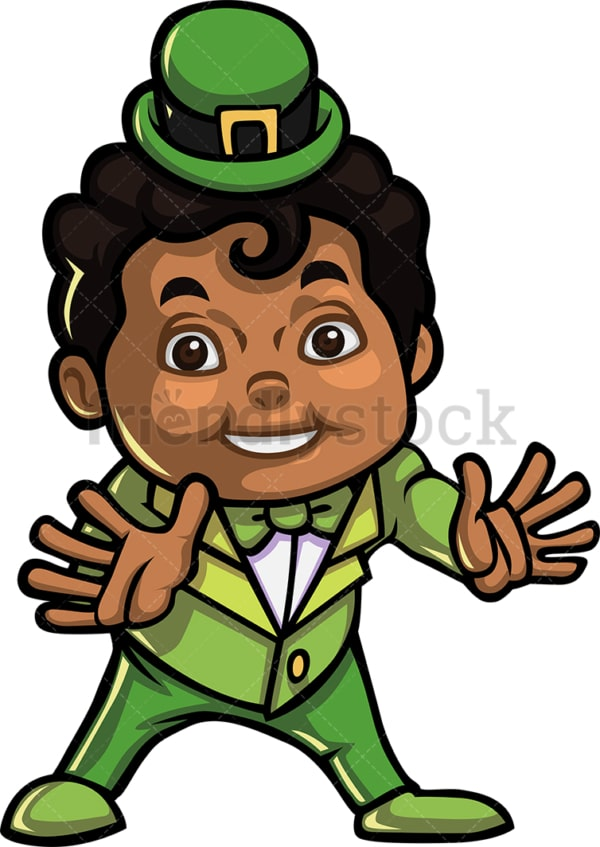 Young black boy leprechaun. PNG - JPG and vector EPS (infinitely scalable).