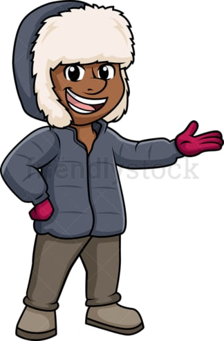 Black guy in winter clothes. PNG - JPG and vector EPS (infinitely scalable).