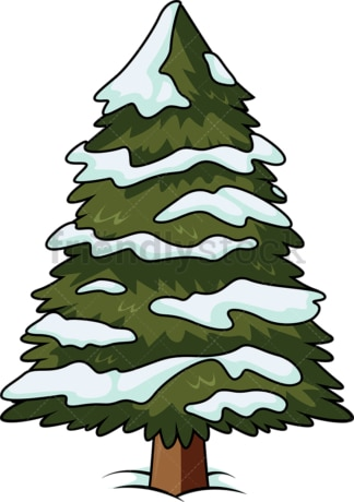 Christmas tree with snow on it. PNG - JPG and vector EPS (infinitely scalable).