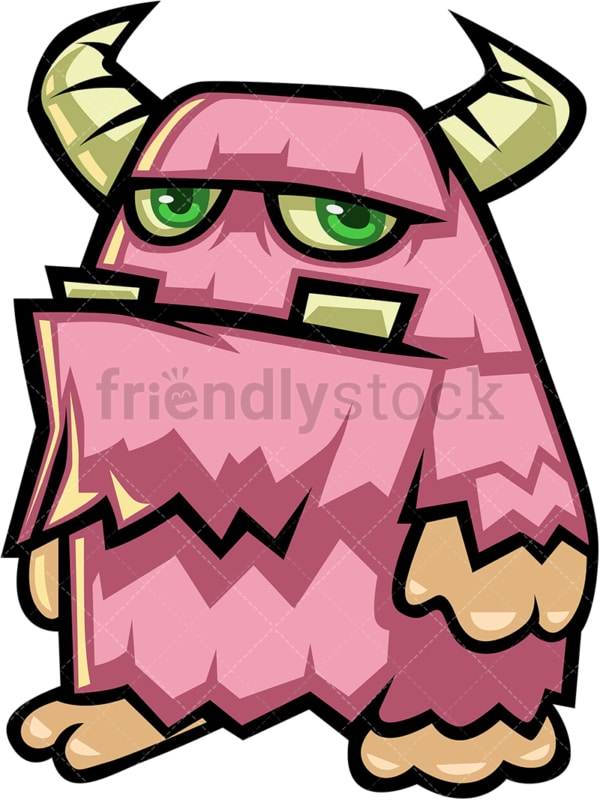 Fluffy pink monster cartoon character. PNG - JPG and vector EPS (infinitely scalable).