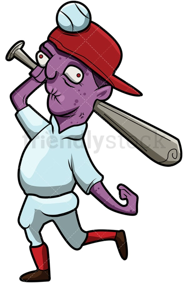 Funny baseball player zombie with bat cartoon. PNG - JPG and vector EPS (infinitely scalable).