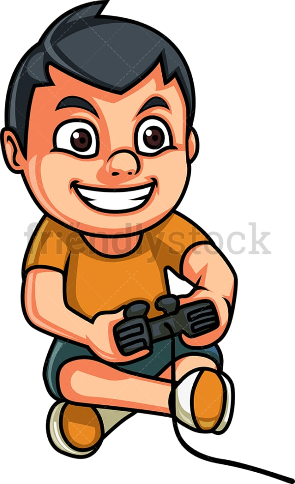 Boy playing a video game. PNG - JPG and vector EPS (infinitely scalable).