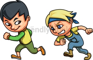 Kids racing each other. PNG - JPG and vector EPS file formats (infinitely scalable). Image isolated on transparent background.