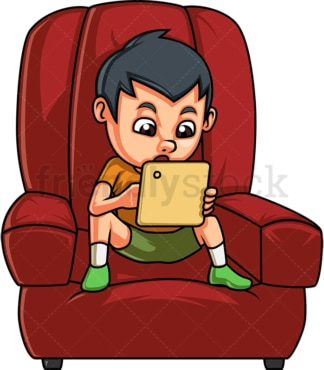 Little kid using tablet. PNG - JPG and vector EPS (infinitely scalable).