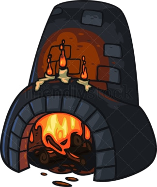 Medieval fireplace. PNG - JPG and vector EPS file formats (infinitely scalable). Image isolated on transparent background.