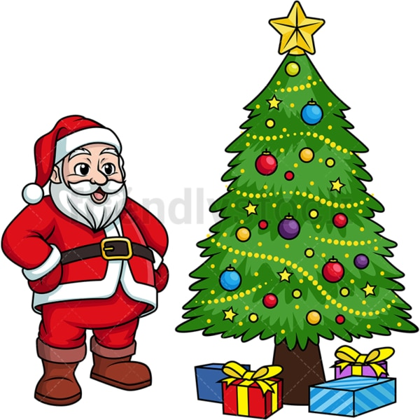 Santa claus near christmas tree. PNG - JPG and vector EPS (infinitely scalable).