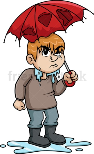 Angry man who got wet from rain. PNG - JPG and vector EPS (infinitely scalable).