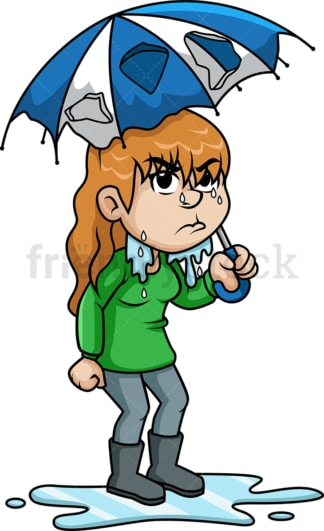 Girl with broken umbrella in the rain. PNG - JPG and vector EPS (infinitely scalable).
