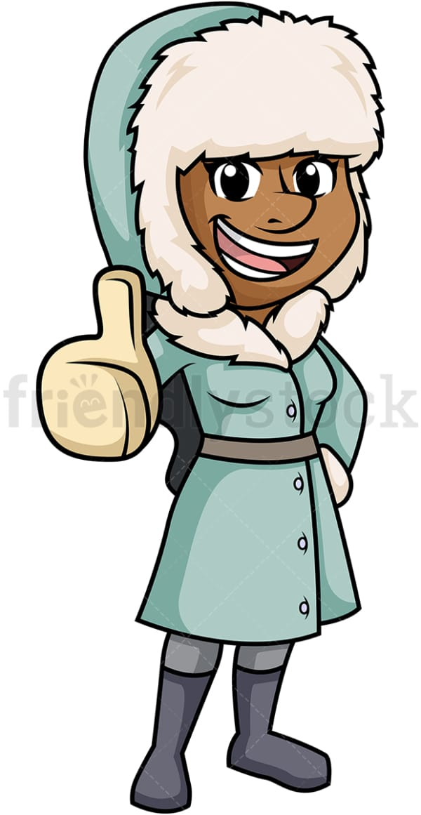 Black woman in winter clothes. PNG - JPG and vector EPS (infinitely scalable).