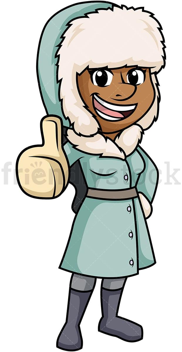 Black Woman In Winter Clothes Cartoon Clipart Vector ...
