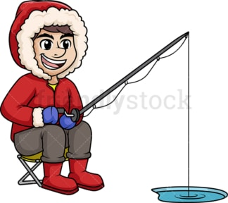 Bundled up man fishing on frozen lake. PNG - JPG and vector EPS (infinitely scalable).