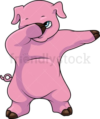 Dabbing pig cartoon. PNG - JPG and vector EPS (infinitely scalable).