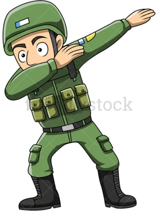 Dabbing soldier cartoon. PNG - JPG and vector EPS (infinitely scalable).
