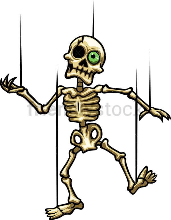 Dancing skeleton marionette cartoon. PNG - JPG and vector EPS (infinitely scalable).