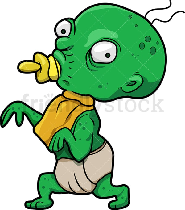 Funny baby zombie with pacifier cartoon. PNG - JPG and vector EPS (infinitely scalable).