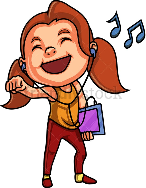 Girl listening to music from tablet. PNG - JPG and vector EPS (infinitely scalable).