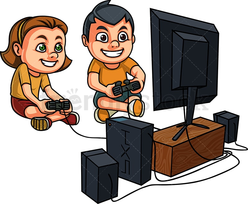Kids Playing Video Games On Console Cartoon Vector Clipart Friendlystock