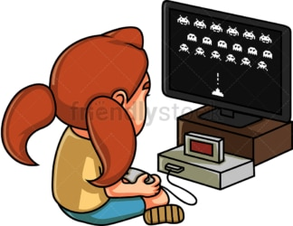 Little girl playing an arcade game. PNG - JPG and vector EPS (infinitely scalable).