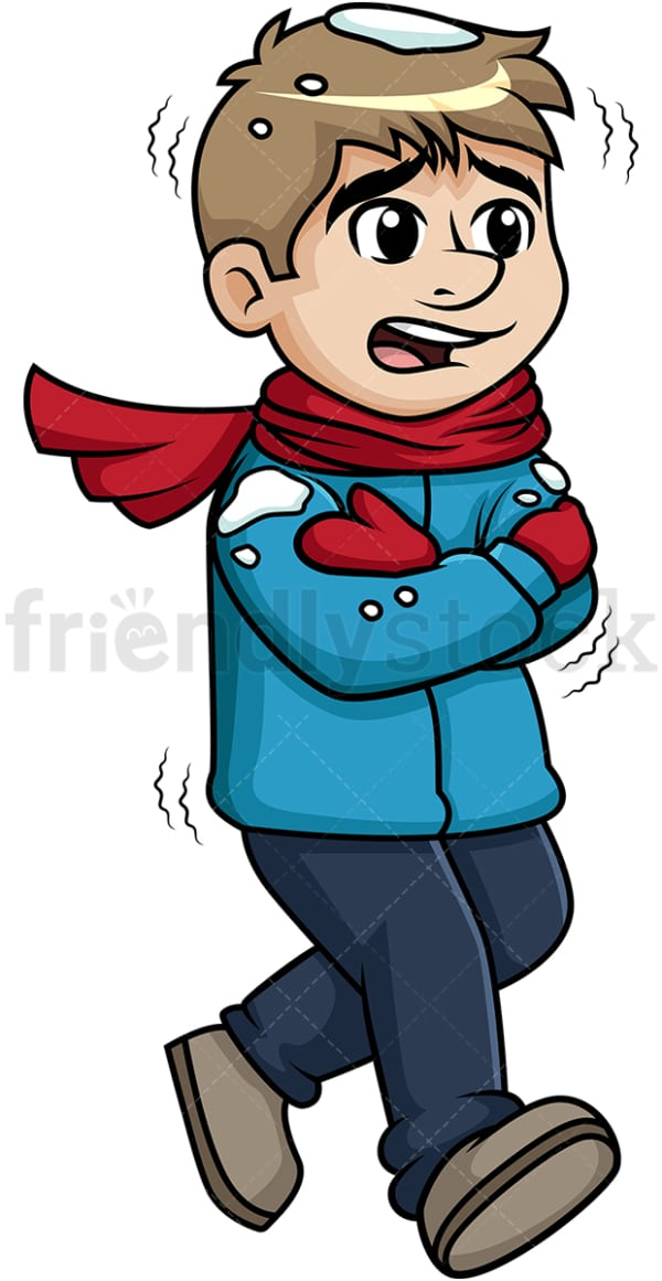 Man freezing out in the snow. PNG - JPG and vector EPS (infinitely scalable).