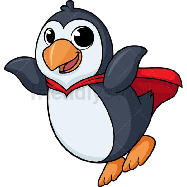 Penguin superhero flying cartoon. PNG - JPG and vector EPS (infinitely scalable).