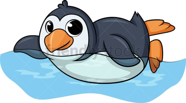 Penguin swimming cartoon. PNG - JPG and vector EPS (infinitely scalable).