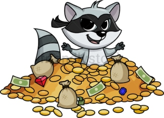 Raccoon bandit buried in treasure cartoon. PNG - JPG and vector EPS (infinitely scalable).