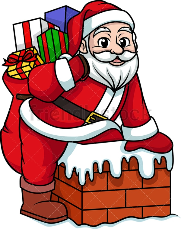 Santa claus getting into chimney. PNG - JPG and vector EPS (infinitely scalable).