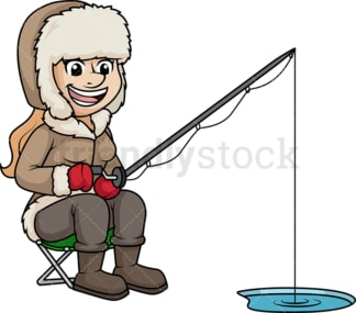 Woman fishing on frozen lake. PNG - JPG and vector EPS (infinitely scalable).