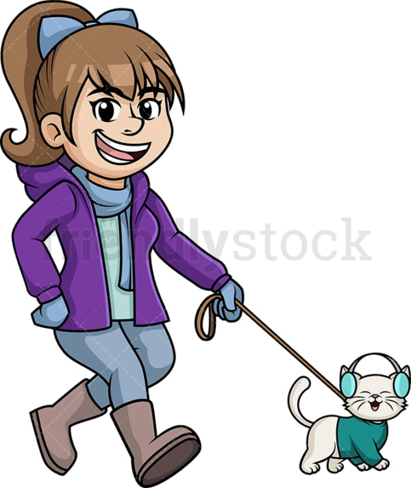 Woman walking her cat in the winter. PNG - JPG and vector EPS (infinitely scalable).
