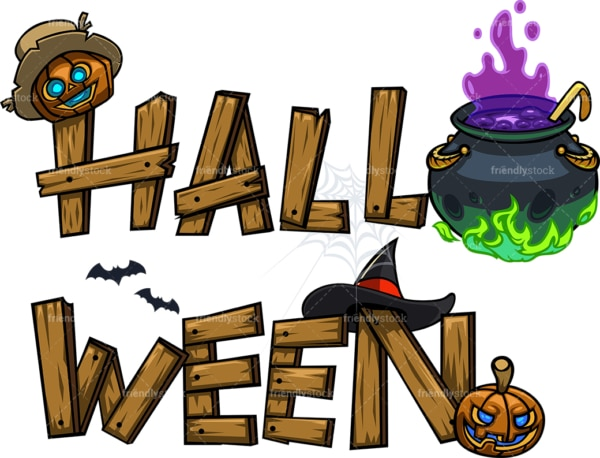 Wooden halloween graffiti sign. PNG - JPG and vector EPS file formats (infinitely scalable). Image isolated on transparent background.