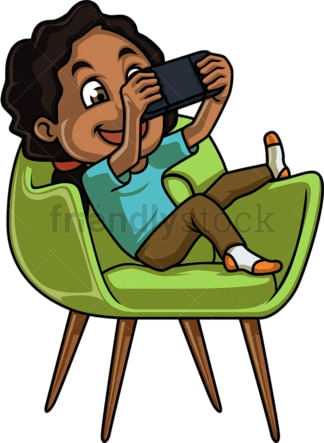 Black girl playing video game on handheld console. PNG - JPG and vector EPS (infinitely scalable).