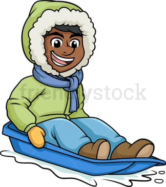 Black guy on a snow sled. PNG - JPG and vector EPS (infinitely scalable).