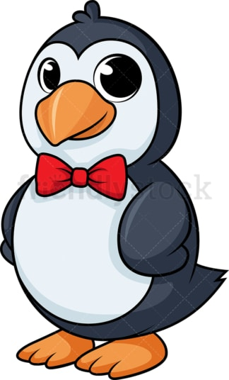 Classy penguin with bow tie cartoon. PNG - JPG and vector EPS (infinitely scalable).