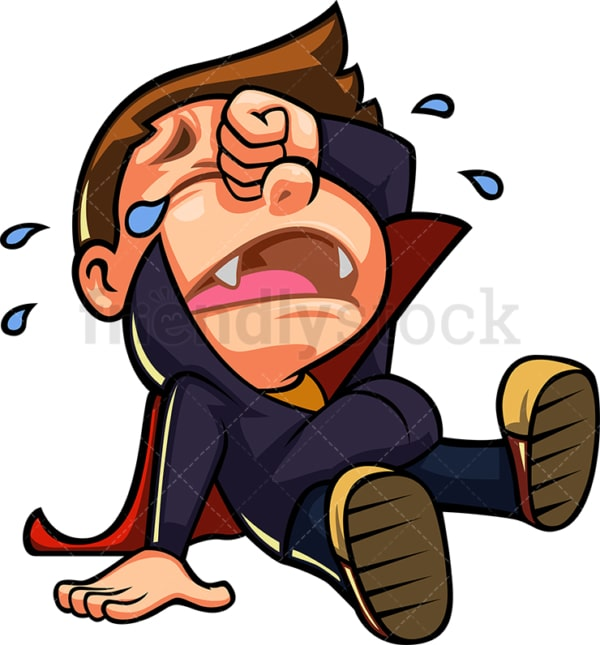 Crying scared little boy vampire. PNG - JPG and vector EPS (infinitely scalable).