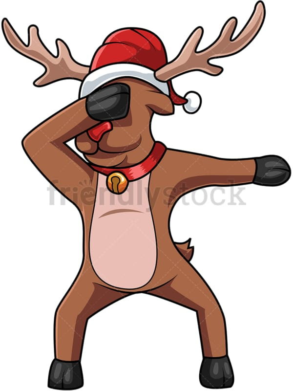 Dabbing reindeer with christmas hat cartoon. PNG - JPG and vector EPS (infinitely scalable).