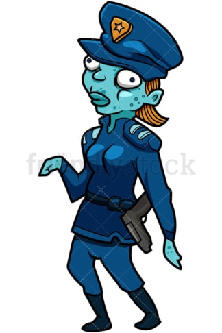 Funny female police officer zombie cartoon. PNG - JPG and vector EPS (infinitely scalable).