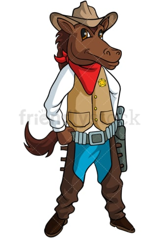 Horse cowboy cartoon. PNG - JPG and vector EPS (infinitely scalable).