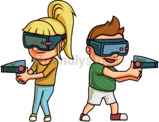 Kids playing a virtual reality game. PNG - JPG and vector EPS file formats (infinitely scalable). Image isolated on transparent background.
