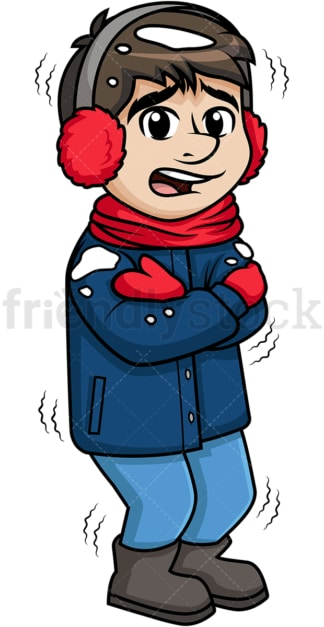 Man feeling cold out in the snow. PNG - JPG and vector EPS (infinitely scalable).