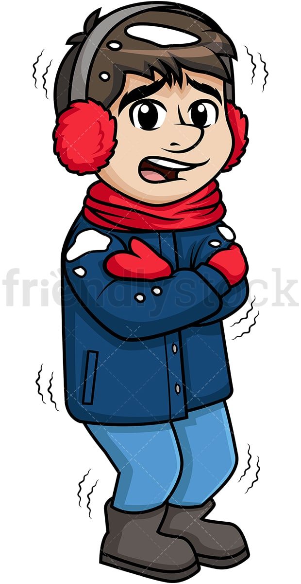 Man Feeling Cold Out In The Snow Cartoon Clipart