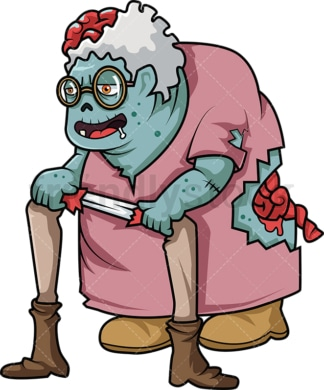 Old lady zombie cartoon. PNG - JPG and vector EPS (infinitely scalable).