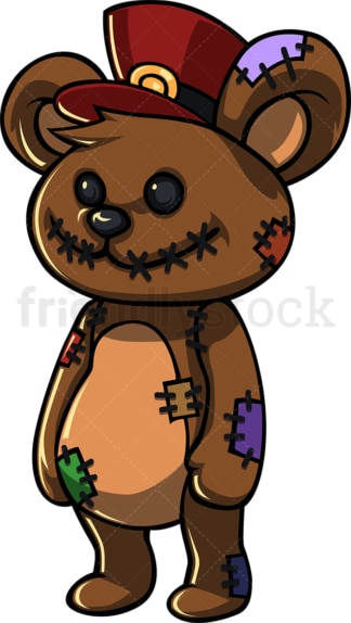 Creepy teddy bear cartoon character. PNG - JPG and vector EPS (infinitely scalable).