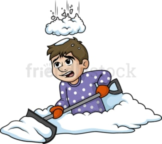 Pile of snow falling on man. PNG - JPG and vector EPS (infinitely scalable).