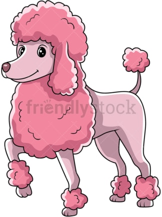 Pink poodle dog standing with one paw up. PNG - JPG and vector EPS (infinitely scalable).