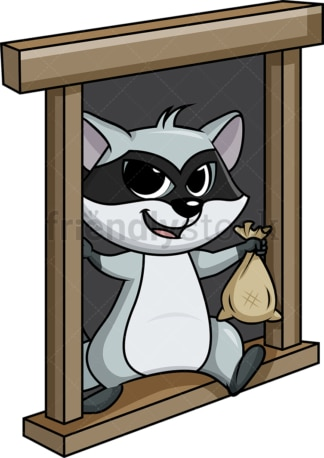 Raccoon thief escaping from window cartoon. PNG - JPG and vector EPS (infinitely scalable).