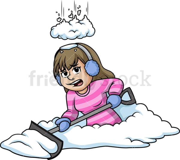 Snow falling on a woman while shoveling. PNG - JPG and vector EPS (infinitely scalable).
