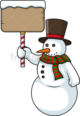 Snowman holding sign. PNG - JPG and vector EPS (infinitely scalable).