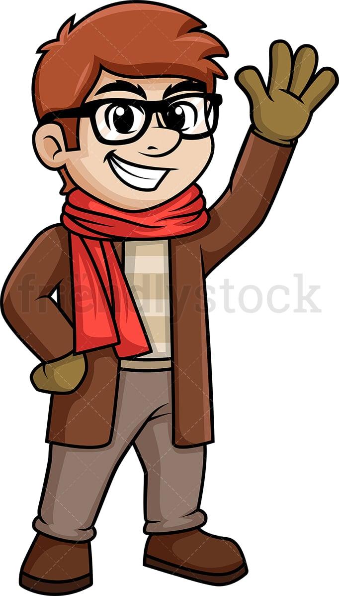 stylish man in winter clothes cartoon clipart friendlystock