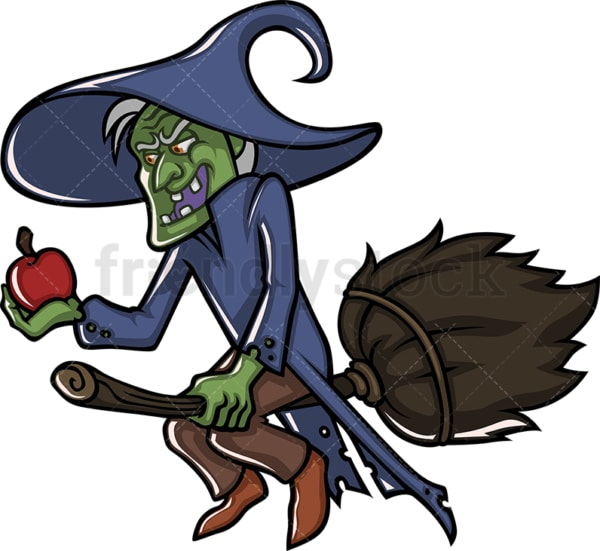 Old evil witch flying with broom cartoon character. PNG - JPG and vector EPS (infinitely scalable).